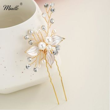 Miallo Fancy Wedding Hair Clips Floral Pearl Beaded Hair Stick Flower Crystal Hair Bridal Hairpins Accessories