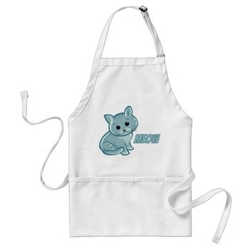 Teal Blue Cute Cat Apron