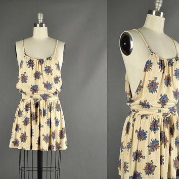 Vintage 1970s Dress 70s Dress mini floral sun by NodtoModvintage