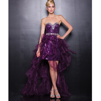 2013 Prom Dresses - Plum Sequin & Chiffon Sweetheart High-Low Prom Dress