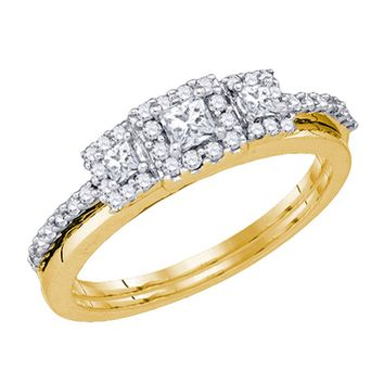 Brides 14KT Yellow Gold Princess Diamond Three Stone Wedding Ring Set 0.47CTW