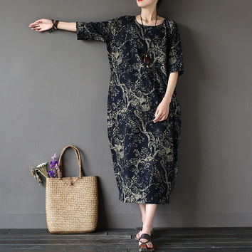 Chinese style Flower Print Plus size Women Dress Loose Casual Oversized Summer Dress Robe Femme Linen Cotton Long Dresses A002