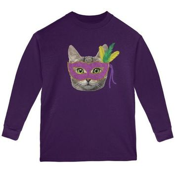 PEAP Mardi Gras Mask Funny Cat Youth Long Sleeve T Shirt
