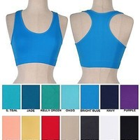 Women BASIC Seamless Fitness Yoga SPORTS BRA Racerback TANK TOP T-Shirt NO PAD