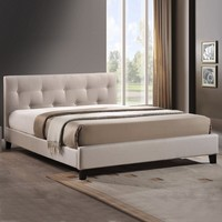 Baxton Studio Annette Light Beige Linen Modern Bed with Covered Buttons | Overstock.com Shopping - The Best Deals on Beds