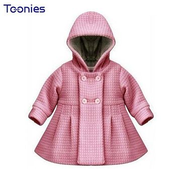 Thick Baby Coats Hooded Girls Outerwear New Autumn Winter Infant Windbreaker Button High Quality Kids Coat Lining Jacquard Loose