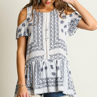 White And Navy Cold Shoulder Top