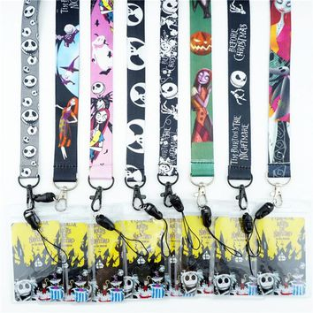Cartoon The Nightmare Before Christmas Key Lanyards Neck Strap ID Card Mobile Phone Strap USB Badge Holder Rope Key Chain Gifts