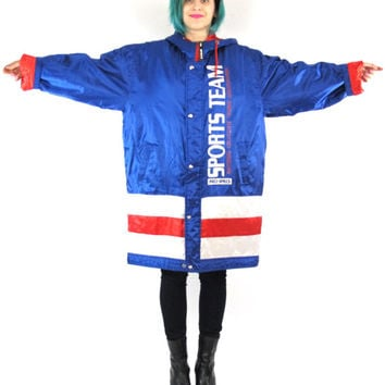90s Pro Sports Team Puffy Winter Coat Mens Athletic Hip Hop Hooded Ski Jacket Tennis Color Block Stripes Zip Up Red White Blue Parka (L/XL)