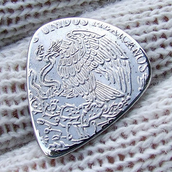 Handmade Custom Coin Guitar Pick - 1972 Mexican Cinco Pesos