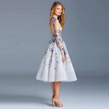 92ea9af8a11 New Illusion Tulle Light Blue Cocktail Dresses 2017 Embroidery Beading  Backless High Neck Long Sleeves Prom