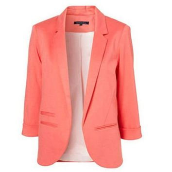 STYLEDOME Slim Fit Women Jackets Office Work Open Front Notched Ladies Blazer Coat