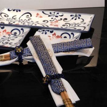 Sushi Set Hand Painted Porcelain For Two, Butterfly Blossom, Serve Sushi In Style, Trendy Royal Blue White Gift Box!