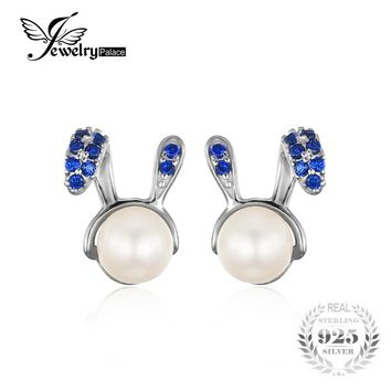 JewelryPalace Bunny Easter Created Blue Spinel Cultured Round Pearl Stud Earrings 925 Sterling Silver Cut Jewelry Earrings