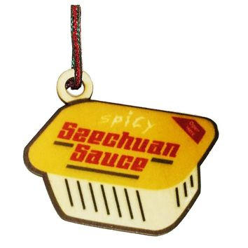 Spicy Szechuan Sauce Yellow Painted Wooden Rear View Mirror Charm Dangler Ornament Gift Seasonal Decoration