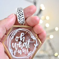 Glass Ornaments / Christmas Ornaments / Handlettered Ornament / Calligraphy Ornament