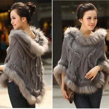 LMFUNT Fahion Luxury Women's Genuine Real Rabbit Fur Raccoon Fur Trimming Knitted pullovers Stole Cape Poncho Wraps Sweatercoat