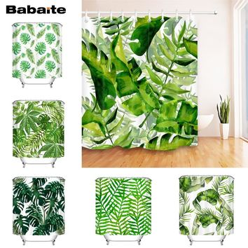 Babaite Monstera Banana Leaf Tropical Plants Printing Shower Curtain Waterproof Polyester Fabric Bathtub Rideaux