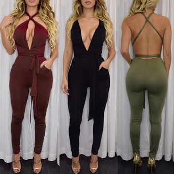8 colors Women Fashion Pocket Rompers and Jumpsuit 2017 Spring Sexy Cross Playsuit Bodysuits Elegant Bandage Plus Size XD259