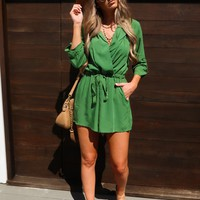 Take It All Back Romper: Forest Green