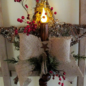 Snow Star Wreath / Lighted Star Wall Hanging / Rustic Star Hanging Burlap Berries / Flicker Candle Star / Christmas Decor Hanging