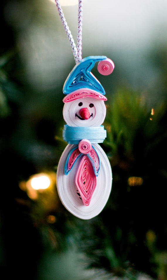 Snowman Ornament - Christmas tree from ofthingspretty on Etsy