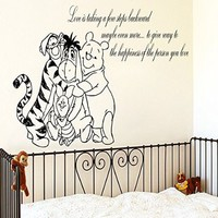 Wall Decals Quote Love Is Taking A Few Decal Winnie the Pooh and his friends Vinyl Sticker Family Bedroom Nursery Baby Room Home Decor Ms328