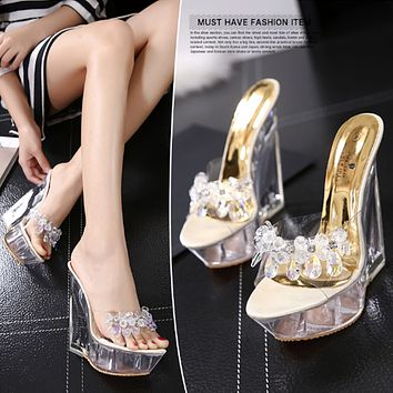 Women Summer Fashion Transparent Crystal Beaded Rhinestone Open Toe Wedge Sandals Slippers Platform High Heels Shoes