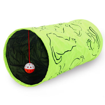 Printed Green Lovely Crinkly Kitten Cat Tunnel Toy With Ball