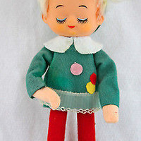 Pixie Elf Knee Hugger Christams Ornament 1950 Felt Doll in Holiday Red & Green
