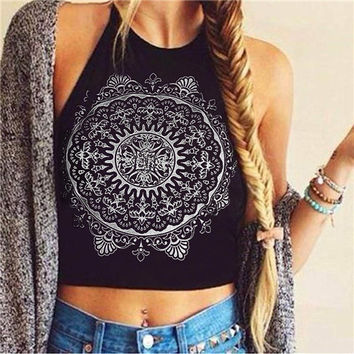 Sexy Bustier Crop Tops For Women Sleeveless Blackless Mandala Print Fitness Short Halter Tank Tops INY66
