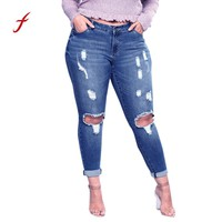 Ripped jeans for women Plus Size Ripped Stretch Slim Denim Skinny Jeans High Waist Trousers Fashion Temperament women jeans boho