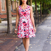 Fit & Flare Dress in Abstract Print Feminine and Flattering - Full Bust