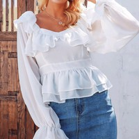 Oh Darling White Long Sleeve Off The Shoulder V Neck Ruffle Peplum Blouse Top