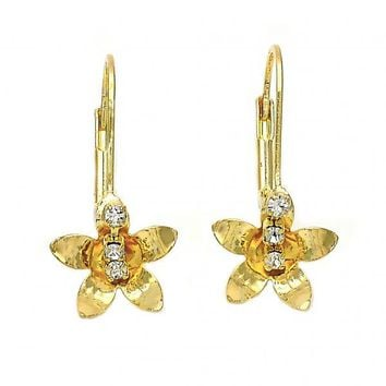 Gold Layered 02.21.0219 Leverback Earring, Flower Design, with White Cubic Zirconia, Polished Finish, Gold Tone