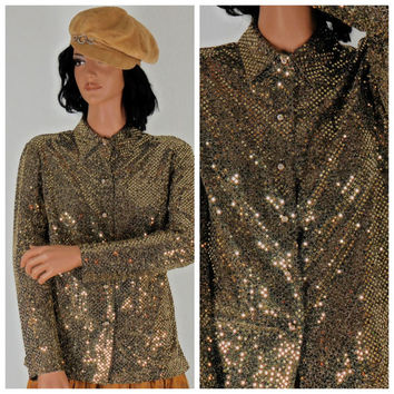 Gold sequined sheer blouse. Cachet, Made in USA, sze S, retro, disco