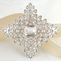 Vintage Stunning Huge KENNETH LANE KJL Four Point Star or Cross Crystal Pin