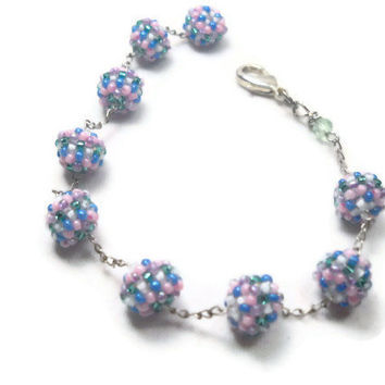 Spring Beadwoven Bracelet Little Balls of Color