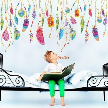 ONETOW Feather Wall Sticker Classic Dream Catcher Sofa Art Decal Mural Lucky Room Decor