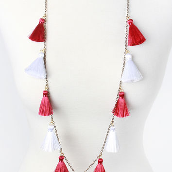The Stevie Necklace - Burgundy/White