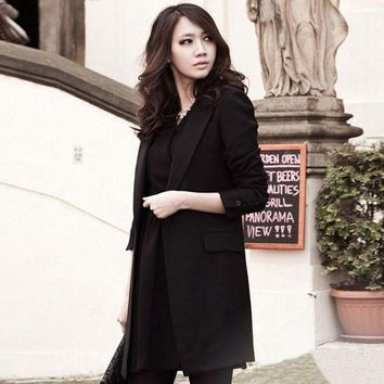Spring Autumn 2016 Women Blazer Lapel Collar Long Sleeve Single Button Lady Black Work Long Jacket Coat Feminino Bussiness Work