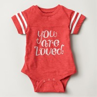 You Are Loved Typography Design Baby Bodysuit