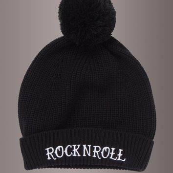 ROCK N ROLL Knit Beanie with Pom Pom