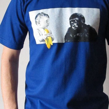 Gorilla Baby Eating Banana T Shirt Mens Animal Short Sleeve Blue Funny T Shirt Tee Shirts Women Shirts Women T-Shirt Size M L Tees