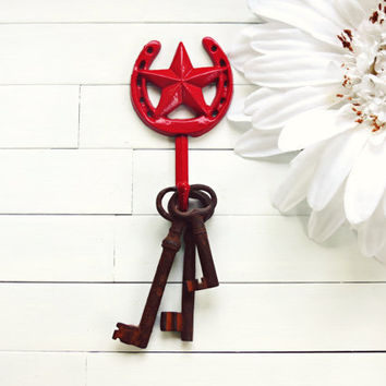 Red Lucky Horseshoe Hook / Wall Hook / Horseshoe and Star Decor / Country Decor / Western Decor / Home Decor / Metal Wall Hook