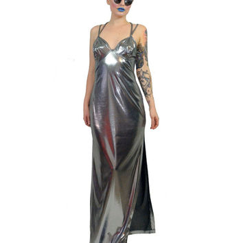 vintage 90s liquid maxi dress WET silver metallic CYBER grunge cyber goth Industrial Club Kidd raver avant garde silver foil Medium