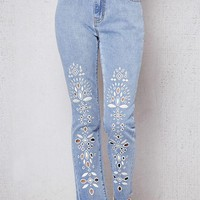 LMFON PacSun Eyelet Blue Denim Mom Jeans
