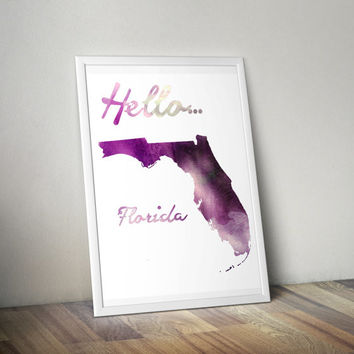 Watercolor Florida Print, Florida Print, Florida Art, Florida Poster, Florida State Print, Download, PDF & JPEG,8.5 x 11, Vertical Art Print