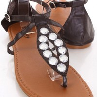 Brown Faux Leather Gemstone Cutout Thong Strap Sandals