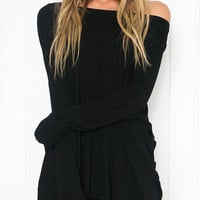 Black Asymmetrical Shoulder Long Sleeve T-shirt